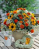 Late summer bouquet, Rudbeckia (sun hat), Zinnia