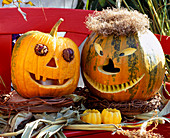 Pumpkin faces made from hollowed out pumpkins