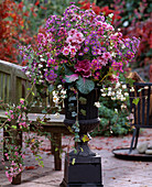 Iron amphora with Aster hybrid, Brassica, Symphoricarpos