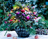 Advent bouquet with snow and fairy lights, Picea (silk pine), Cryptomeria