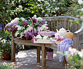 Garden bench, basket of Syringa vulgaris (lilac)