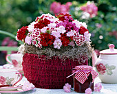 Basket with a Dianthus caesius (carnation, Dianthus) arrangement