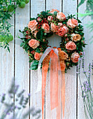 Stick with rose petals wreath