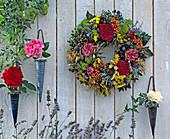 Wreath made of moss ring, Rudbeckia (sun hat)
