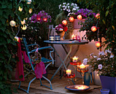 Balcony with fairy lights and candles