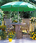 Yellow balcony with umbrella, placed in the hole provided in the table