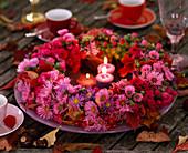 Autumn Aster (autumn veins) wreath, viburnum (snowball)