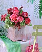 Rose, hydrangea, atriplex (red melde)