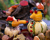 Pumpkin Figures Cucurbita Ornamental Squash, rose Rosehips, Sorbus Rowanberry, Prunus