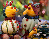 Pumpkin figures, Cucurbita (ornamental squash), Sorbus (rowanberry)