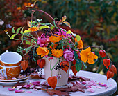 Table Decoration Pink Roses, Calendula Marigolds, Eschscholzia Gold Poppy, Physalis