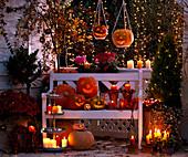 Illuminated Halloween Balcony, Cucurbita Gourds, Chrysanthemum, Cotoneaster