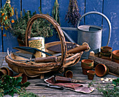 Basket with garden tools