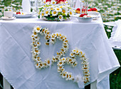 Leucanthemum (marguerite) heart with white ribbon attached to the tablecloth