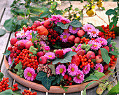 Aster flowers, berries and leaves wreath