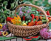Wicker basket with daucus (carrots)
