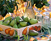 Pyrus (pear) in wooden box with napkin decoration