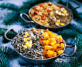Birdseed homemade iron bowl with grains and dried fruits