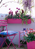 Balcony with pink accessories