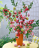 Easter bouquet of Chaenomeles twigs (ornamental quince)