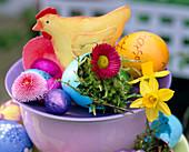 Tin chicken, chocolate eggs