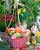 Pink handle basket with Easter eggs