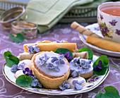 Pastries with viola odorata (fragrance violets)