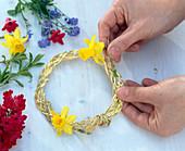 Gras pigtail as a wreath