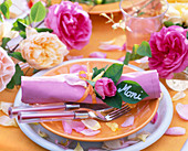 Napkin Decoration with Pink (Rose)