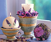 Lavender candles decorated with lavandula (lavender)