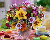 Lilium (lily), Cosmos (daisies), Monarda (bergamot)