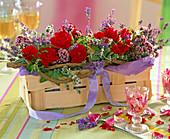 Spoke Basket with Pink (Rose), Lavandula (Lavender)