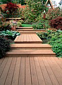 Garden path and wooden stairs