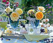 Rose (yellow rose), Lavandula (lavender)