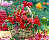 Basket with dahlia (red dahlia)
