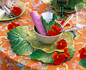 Brassica (savoy cabbage) as placemat