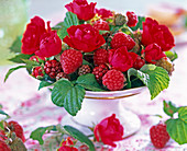 Pink (rose), Rubus (raspberry), grapes, unripe blackberries