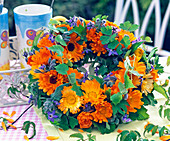 Stuck calendula wreath
