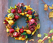 Wreath made from Cucurbita, Malus, Rosa