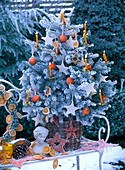 Picea (spruce) with hoarfrost, decorated as a Christmas tree