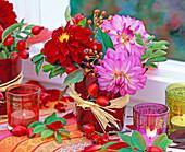 Dahlia, rose, red glasses, bast ribbon, lanterns