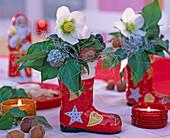 Small arrangement in colorful porcelain St. Nikolaus boots with Helleborus