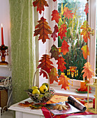 Oak leaves as autumnal window decoration