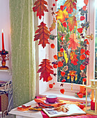 Oak Leaves lanterns window decoration