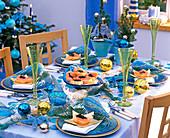 Christmas maritime, table decoration with salmon (caviar slices)