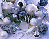 Silver, white and gray Christmas tree decoration