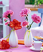Dianthus (carnation) flowers in pink and orange
