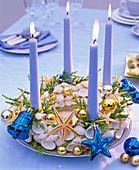 Maritime Advent wreath with shells, starfish, Chamaecyparis