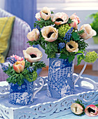 Bouquets with Anemone coronaria (Crown anemone), Muscari