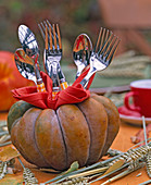 Cucurbita, lined with red napkin as a container for cutlery